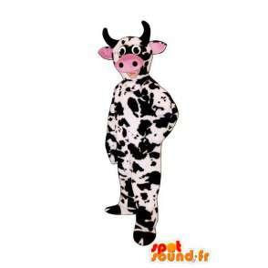 Mascotte de bœuf blanc et noir en peluche, avec museau rose - MASFR005037 - Mascottes Vache