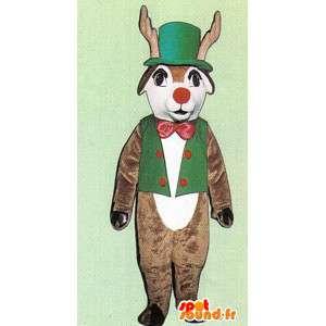 Mascotte de cerf marron blanc avec gilet et chapeau verts