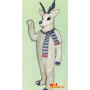 Mascotte de cerf blanc avec cornes bleus