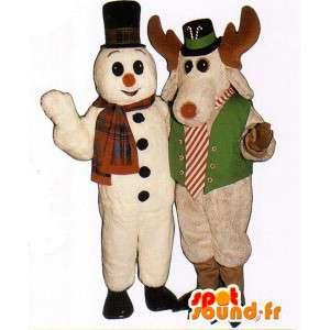 Διπλό μασκότ - χιονάνθρωπος και το ελάφι