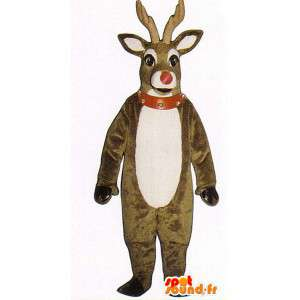 Deer mascot plush brown and white