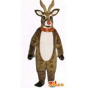 Mascotte de cerf marron et blanc en peluche