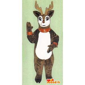 Peittää ruskea ja valkoinen peura muhkeat  - MASFR005057 - Stag ja Doe Mascots