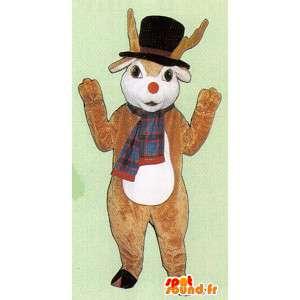 Cervo mascotte marrone con cappello e sciarpa