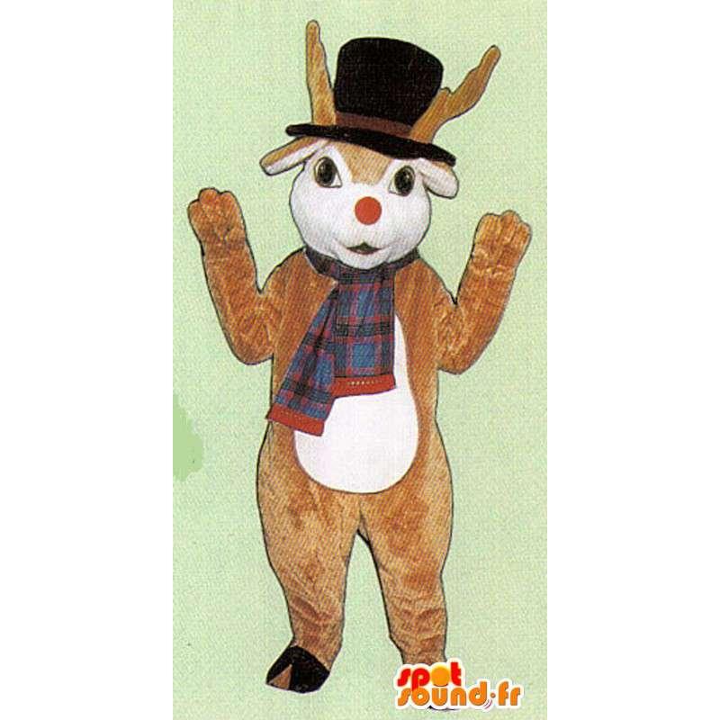 Mascot braunen Hirsch mit Schal und Mütze - MASFR005061 - Maskottchen Hirsch und DOE