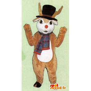 Brown deer mascot with hat and scarf - MASFR005061 - Mascots stag and DOE