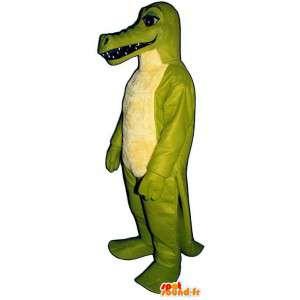 Mascotte die een groene en gele krokodil