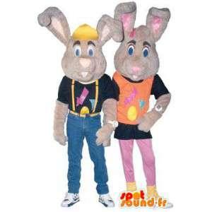 Déguisements couple mascotte lapin rockers - MASFR005142 - Mascotte de lapins