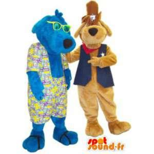 Pari koira maskotti fancy cowboy ja Havaiji - MASFR005168 - koira Maskotteja