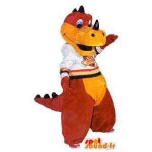 Mascot dragão vermelho desportivo e adulto traje amarelo