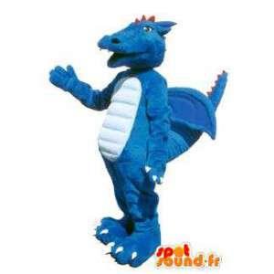 Drachen-Maskottchen-Kostüm für Erwachsene blau Fantasie