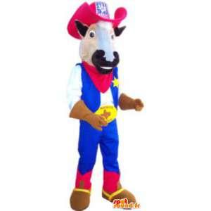 Lehmän maskotti puku cowboy porukka aikuisten - MASFR005190 - lehmä Maskotteja