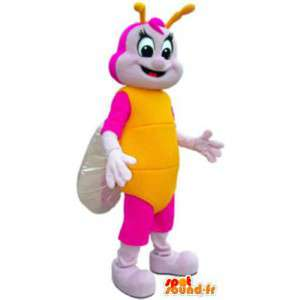 Adult costume mascot pink and yellow butterfly