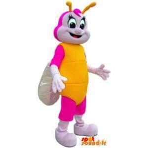 Mascota adultos traje de color rosa y la mariposa amarilla