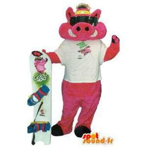 Mascot freche Surfer Kostüm mit Zubehör - MASFR005203 - Maskottchen Schwein