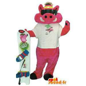 Naughty mascot costume adult surfer with accessories - MASFR005203 - Mascots pig