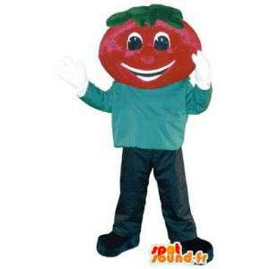 Homem adulto traje com cabeça de morango mascote