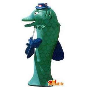 Mascot kostuum groene hoed dolfijn met canada