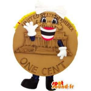 Mascotte de pièce d'un cent américain avec regard fantaisie