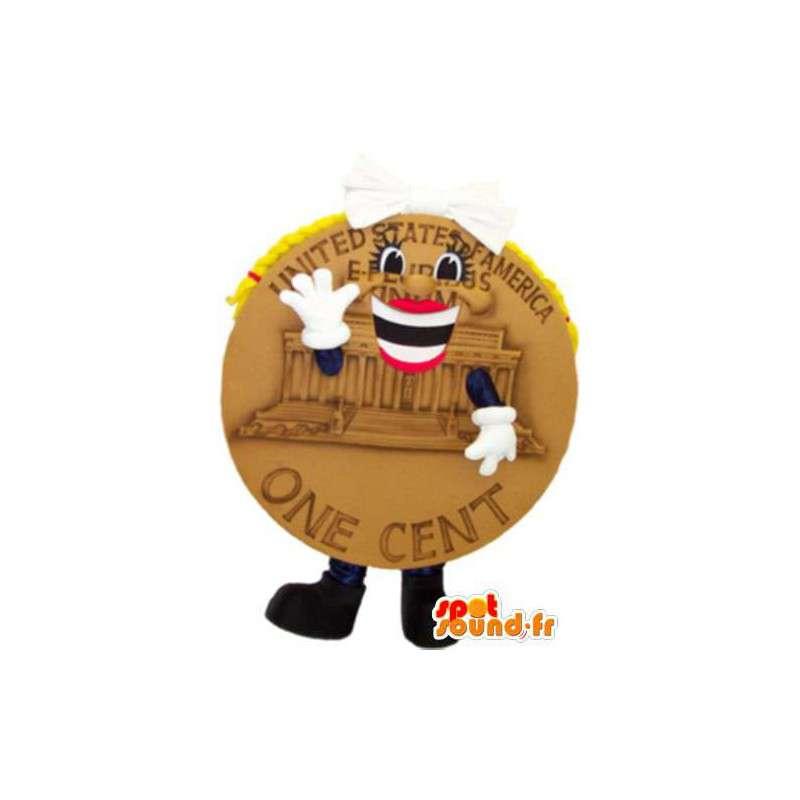 Mascot onderdeel van een Amerikaanse cent, met een chique look - MASFR005231 - mascottes objecten