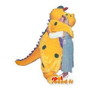 Yellow Dragon merkki maskotti violetti puku herneet - MASFR005242 - Dragon Mascot
