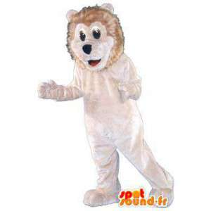 Costume leone adulto che vive bianco peluche