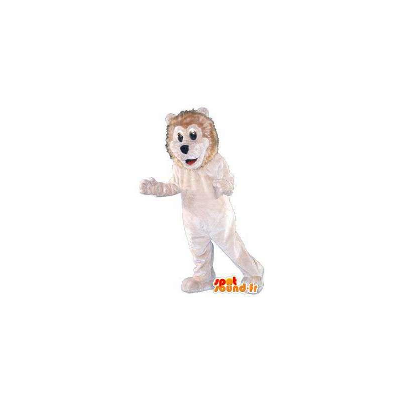 Kostüm erwachsenen weißen Löwen Plüschwohn - MASFR005250 - Löwen-Maskottchen