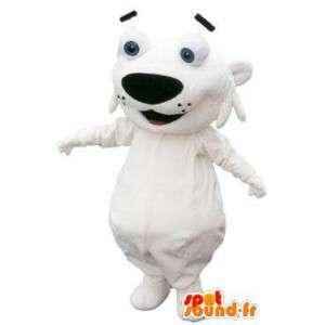 Cão branco fantasia de mascote caráter cabeça grande - MASFR005255 - Mascotes cão
