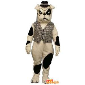 Koira maskotti Bulldog takki ja kirjava hattu - MASFR005257 - koira Maskotteja