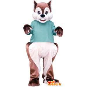 Eichhörnchen Kostüm für Erwachsene Plüsch grünen T-Shirt