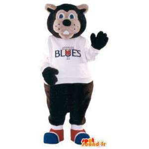 Blues merk mascotte teddybeer kostuum - MASFR005282 - Bear Mascot
