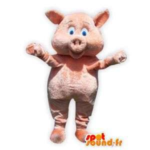 Voksen gris maskot kostyme plysj blå øyne
