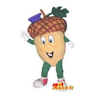 青い帽子のどんぐりキャラクターマスコットコスチューム--masfr005288-植物マスコット