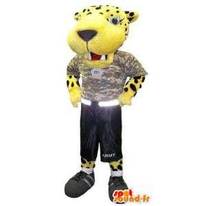 Costume volwassen mascotte tijger bewapende militair