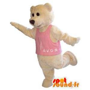 Bear maskot kostume til voksne med lyserød t-shirt - Spotsound