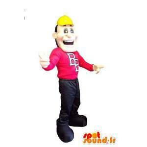 Mascot character construction yellow helmet adult costume - MASFR005304 - Human mascots