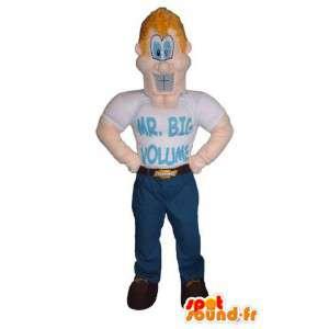 Caráter fantasia de mascote de super-heróis músculos Sr. Big - MASFR005319 - super-herói mascote