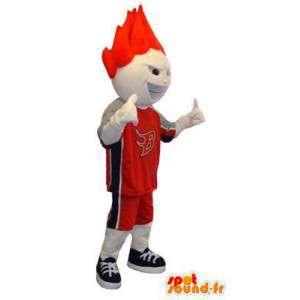 Costume pour adulte de mascotte de personnage blanc basketteur