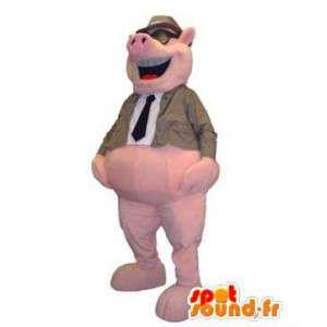 Traje de la mascota del cerdo por un explorador para adultos con gafas