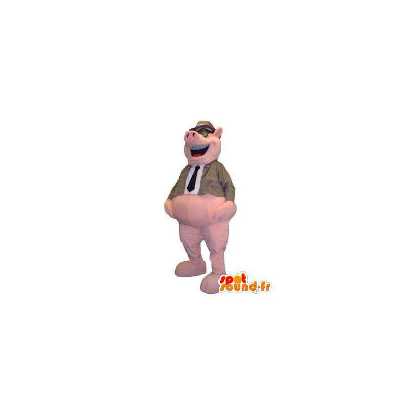 Pig mascot costume for adult explorer with glasses - MASFR005330 - Mascots pig