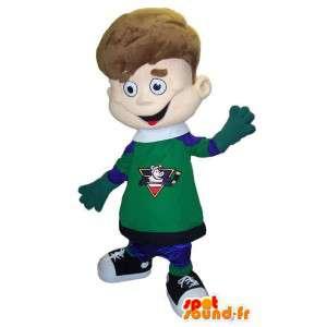 陽気な大人のスポーツマスコット衣装の少年