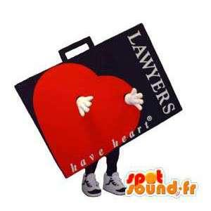 Mascotte costume carattere del libro di adulti con il cuore