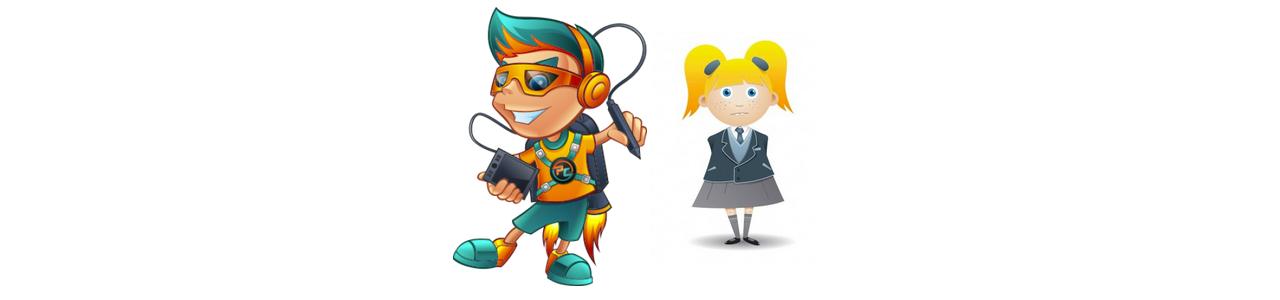 男の子と女の子のマスコット - 人間のマスコット - Spotsoundマスコット