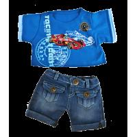 T-shirt bleu et short en jean