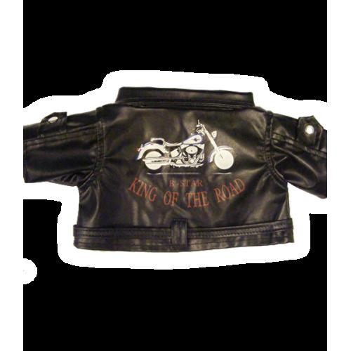 Blouson en cuir noir de motard