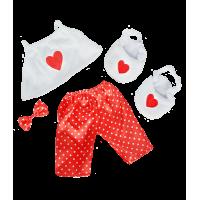 T-shirt, pantalon et chaussures rouges et blancs
