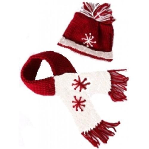 Bonnet et écharpe de Noël rouges et blancs
