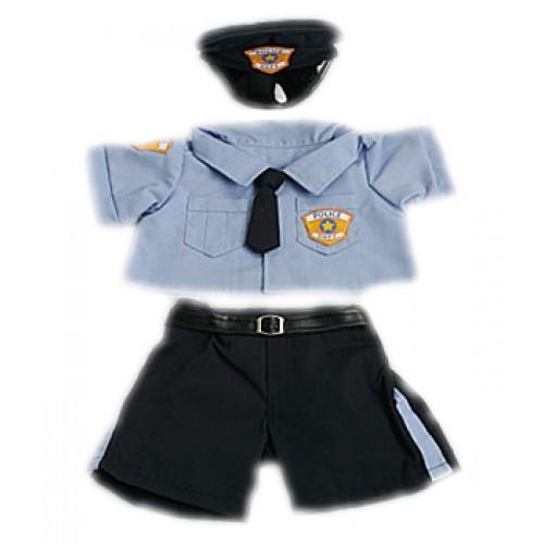 Tenue de policier bleue et noire avec casquette