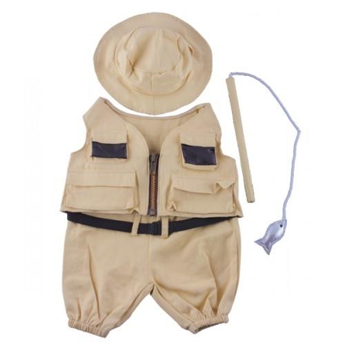 Tenue de pêcheur avec chapeau et canne à pêche