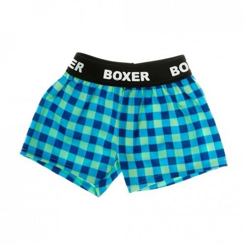 Boxer bleu et vert. Short à carreaux